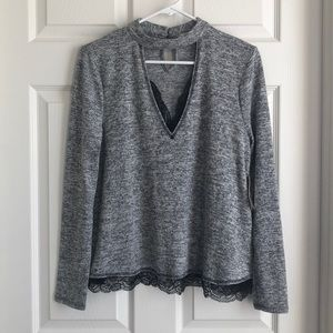 Gray sweater with black lace trim size small